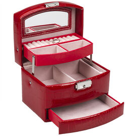 Beauty Scene Jewellery Box 3 Tiered - Red