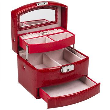 Beauty Scene Jewellery Box 3 Tiered - Red