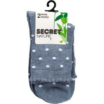 Secret Nature Bamboo Crew Cut Socks - Grey Dots - 2 pair