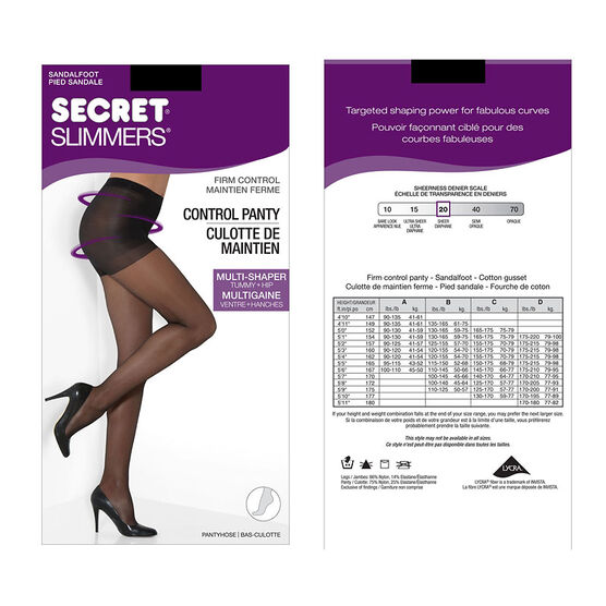Secret Silky Slimmers Control Top Pantyhose - B - Nightshade