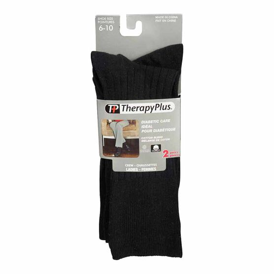 Therapy Plus Diabetic Care Ladies Dress Crew Sock - Black - 2 Pair