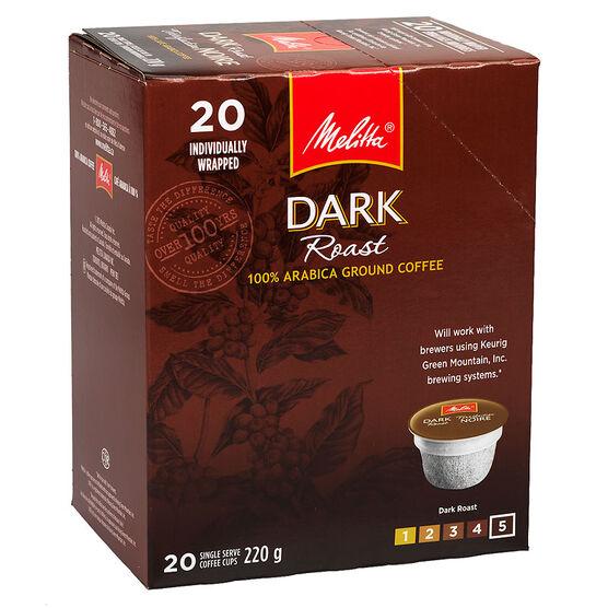 Melitta Cups Dark Roast Coffee - 20 servings