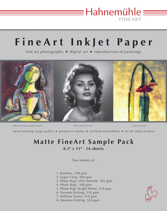 Hahnemuhle Matte Sample Pack - 8.5 x 11inch - 16 sheets