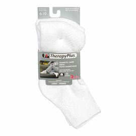 TherapyPlus Women's Diabetic Anklet Socks - Shoe Size 6-10 -White - 2 pairs