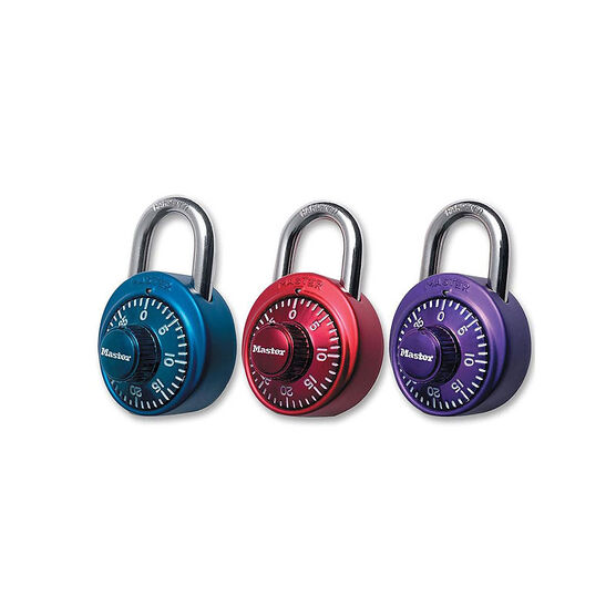 Master Lock Dial Combination Padlock - 3 pack - Mini - Assorted