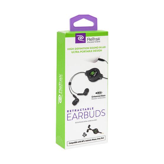 ReTrak Retractable Earbuds - Black - ETESBUD