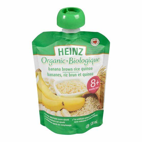 Heinz Organic Baby Food Pouch - Banana, Brown Rice and Quinoa - 128ml