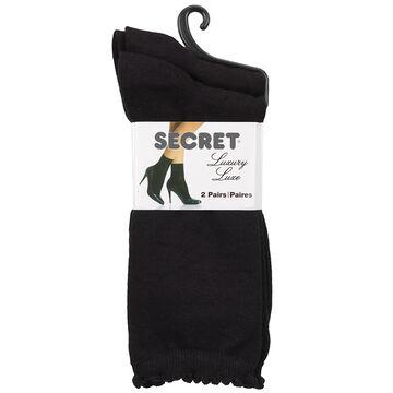 Secret Luxury Pindot Crew Sock - Black - 2 pair