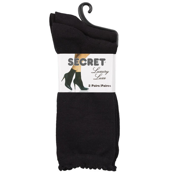 Secret Luxury Pindot Crew Sock - Black - 2 pair