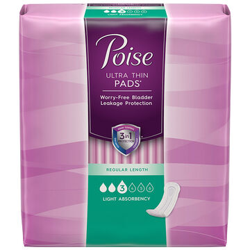 Poise Ultra Thin Pads - Light Absorbency - 30's