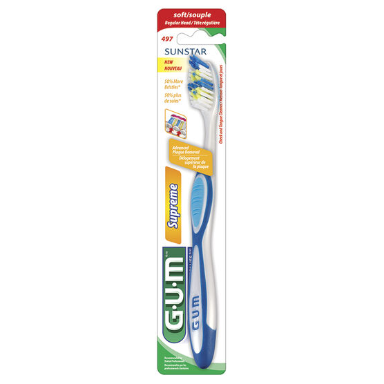 G.U.M Tooth Brush Supreme with Cheek and Tongue Cleaner - Soft