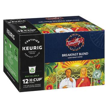 K-Cup Timothy's Light Roast Coffee - Breakfast Blend - 12 Servings