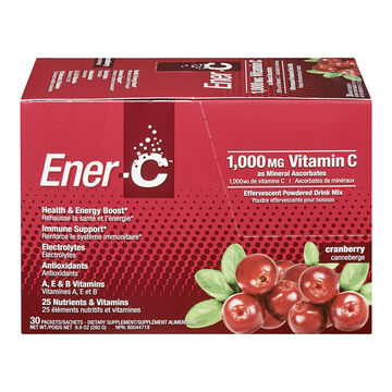 Ener-C Vitamin C Powered Drink Mix - 1000mg - Cranberry - 30's