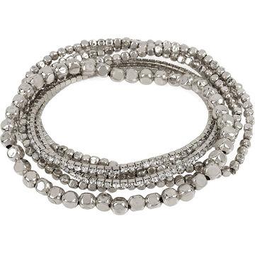 Haskell Stretch Beaded Bracelet Set - Crystal/Rhodium