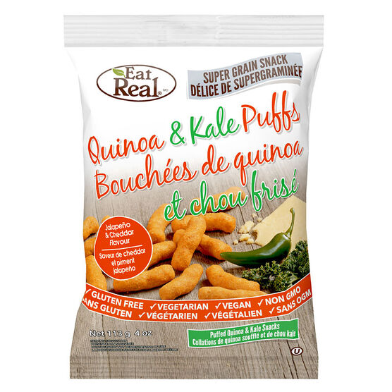 Eat Real Quinoa and Kale Puffs - Jalapeno & Cheddar - 113g