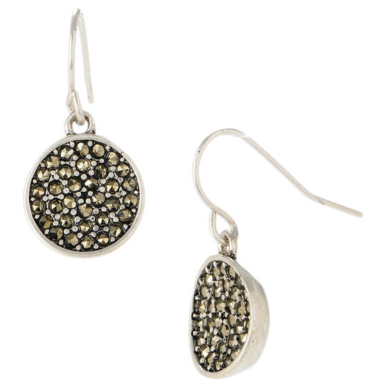 Kenneth Cole Pave Circle Drop Earrings - Silver Tone