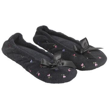 Isotoner Floral Ballerina Slipper - Black - Extra Large