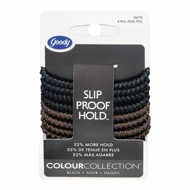Goody Colour Collection Slip Proof Elastics - Black - 8 pack
