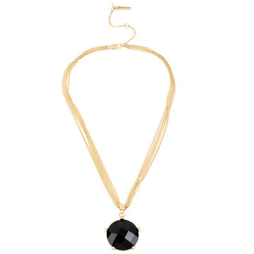 Kenneth Cole Round Pendant Necklace - Jet