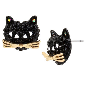 Betsey Johnson Dark Cat Stud Earrings - Black/Hematite