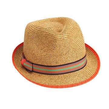 Bellezza Fedora Hat - Natural Orange and Green