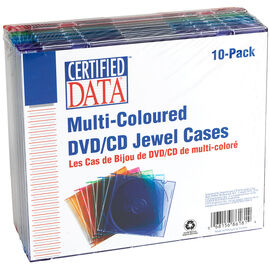 Certified Data Mutli-Coloured CD Jewel Case - 10 Pack