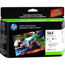 HP 564 Photo Value Pack - 3 HP 564 Ink Cartridges with 85 Sheets of Photo Paper - Colour - CG925AC#140