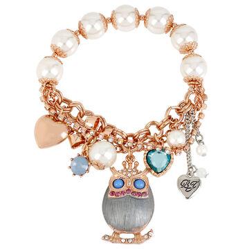 Betsey Johnson Owl Stretch Bracelet - Rose Gold