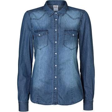 Vero Moda Long Sleeve Denim Shirt - Medium Blue