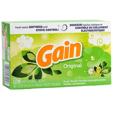 Gain Fabric Softener Sheets - Original - 80's