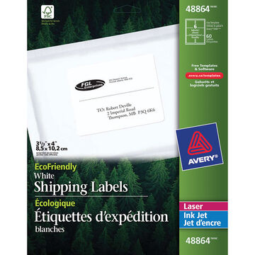 """Avery White EcoFriendly Mailing Labels - 3-1/3"""" x 4"""""""