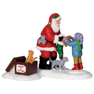 Lemax Santa and Kittens Figurines