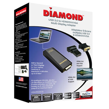 Diamond UGA USB 3.0 To DVI/HDMI/VGA Adapter - UGA3500OS