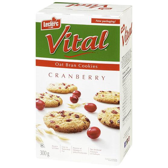 Leclerc Vital Cookies - Oat Bran & Cranberry - 300g