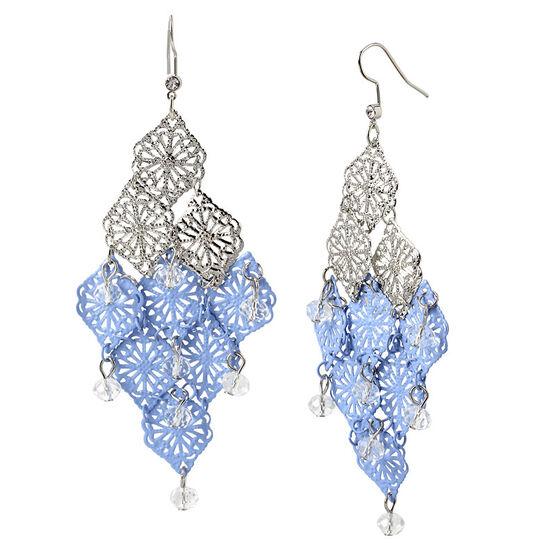Haskell Dip Filigree Crystal Earrings - Blue/Rhodium