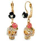 Betsey Johnson Skull Crystal Earrings - Crystal & Pink
