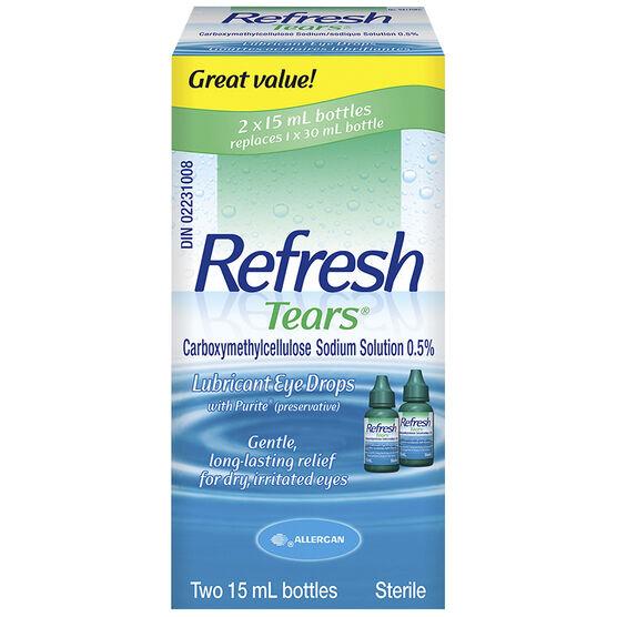 Refresh Tears Lubricant Eye Drops - 2x15ml