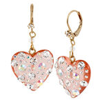 Betsey Johnson Drop Heart Earrings - Pink