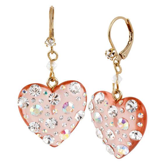 Betsey Johnson Drop Heart Earrings - Pink