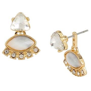 Haskell Crystal Front Back Earrings - White/Gold