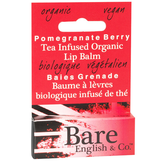 Bare English Tea Infused Organic Lip Balm - Pomegranate Berry - 4.44ml
