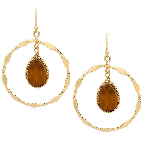 Haskell Stone Hoop Earrings - Gold