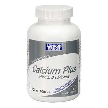 London Drugs Calcium Plus Vitamin D and Minerals- 600mg/400iu - 120's