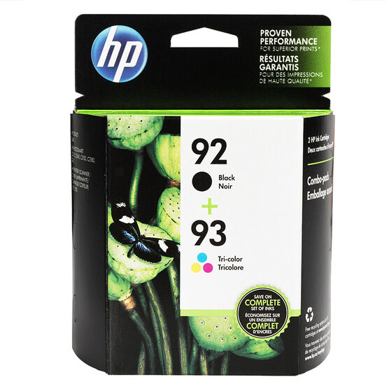 HP 92/93 Combo Pack Ink Cartridge - Black and Tri-colour - C9513FN#140