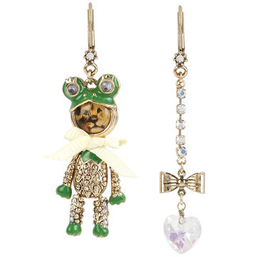 Betsey Johnson Costume Critters Frog Lion Mismatch Drop Earrings - Green