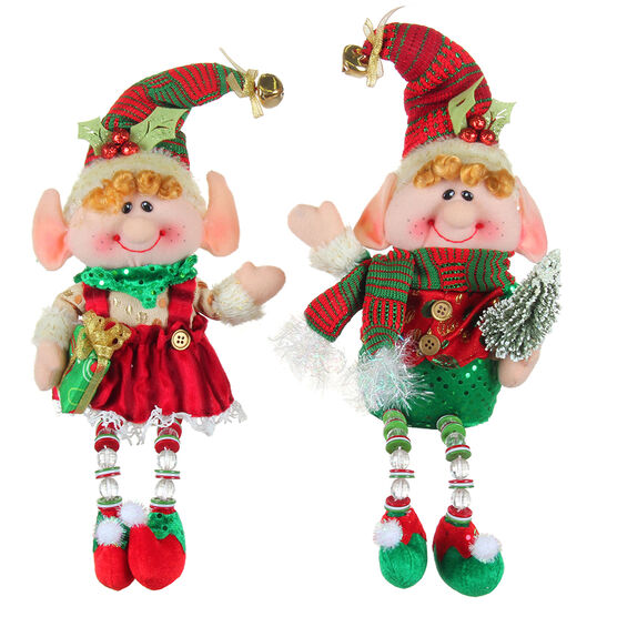 Winter Wishes Sitting Elf with Bead - 13 inch - Assorted