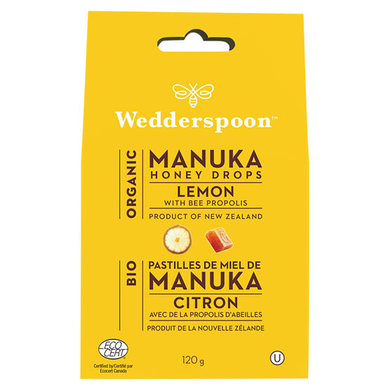 Wedderspoon Organic Honey Drops - Lemon & Bee Propolis - 120g