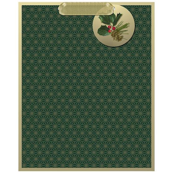 Hallmark Green Stars Gift Bag - Large - Elegant Golds - 0449XGB1262