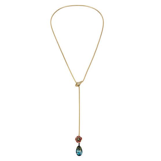 Betsey Johnson Flower Patina Stone Necklace - Multi/Gold
