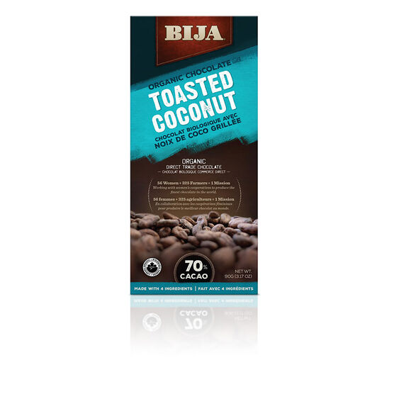 Bija Organic Chocolate - Toasted Coconut - 90g